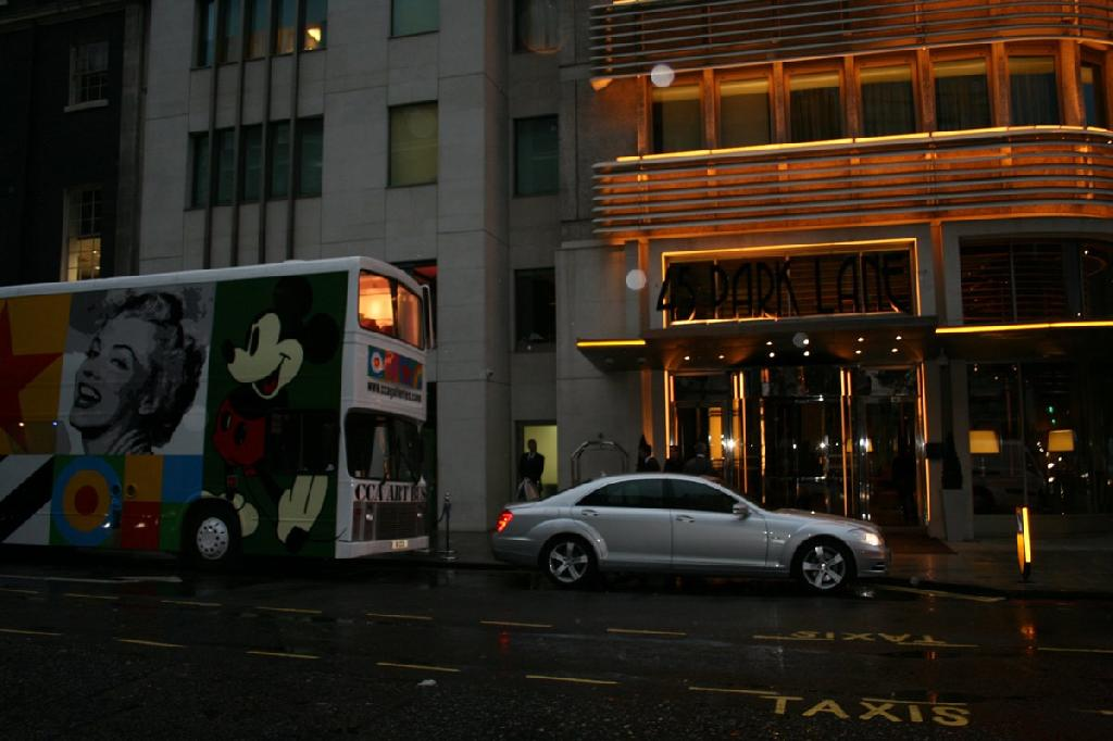 The London Private View of 'Liverpool Love' at 45 Park Lane - The Dorchester Collection with CCA Art bus outside the Lobby 2012
