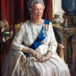 Queen Elizabeth II portrait by Christian Furr hanging at the Royal Overseas League Queen Elizabeth II portrait by Christian Furr hanging at the Royal Overseas League