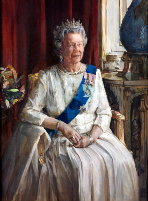 Queen Elizabeth II portrait by Christian Furr hanging at the Royal Overseas League