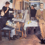 the artists studio, christian furr, easel, friends, eighties