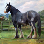 Horse, Pet portrait, pet portraits, painting, christian furr, jack russell, animal, animals, painting, paintings, shire horse