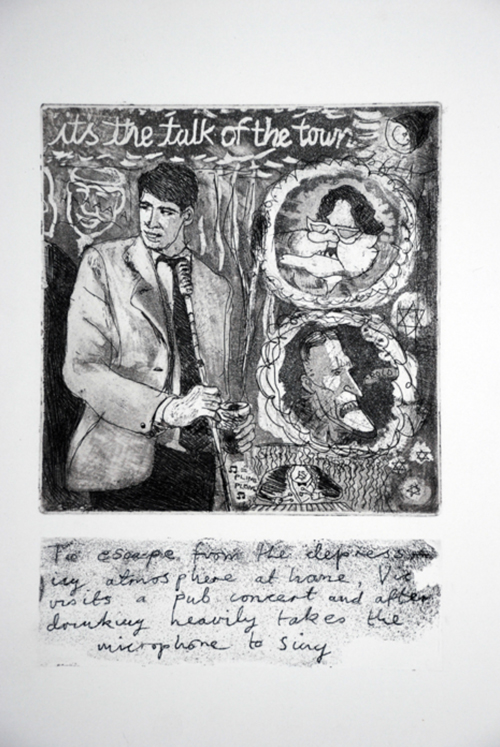 Its the Talk of the Town Drypoint etching 1988