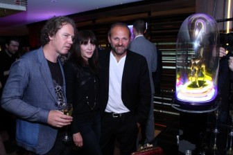 Christian Furr, Annabelle Neilson and Chris Bracey attend opening of #stayingaliveneon at 45 Park Lane - The Dorchester Collection in 2013