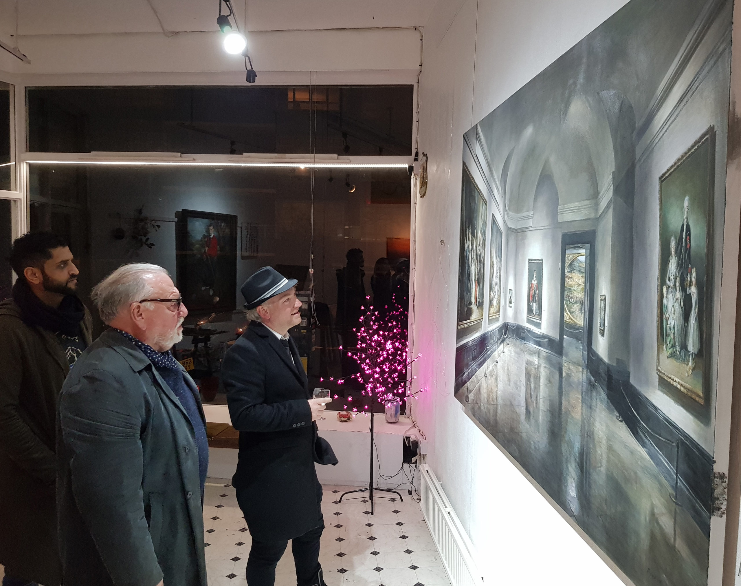ACTOR KENNETH CRANHAM VIEWS CHRISTIAN FURR'S PAINTING GOYA IN THE PRADO AT FURR'S STUDIO AND GALLERY 'RICHMOND ATELIER' ON RICHMOND HILL DECEMBER 2019