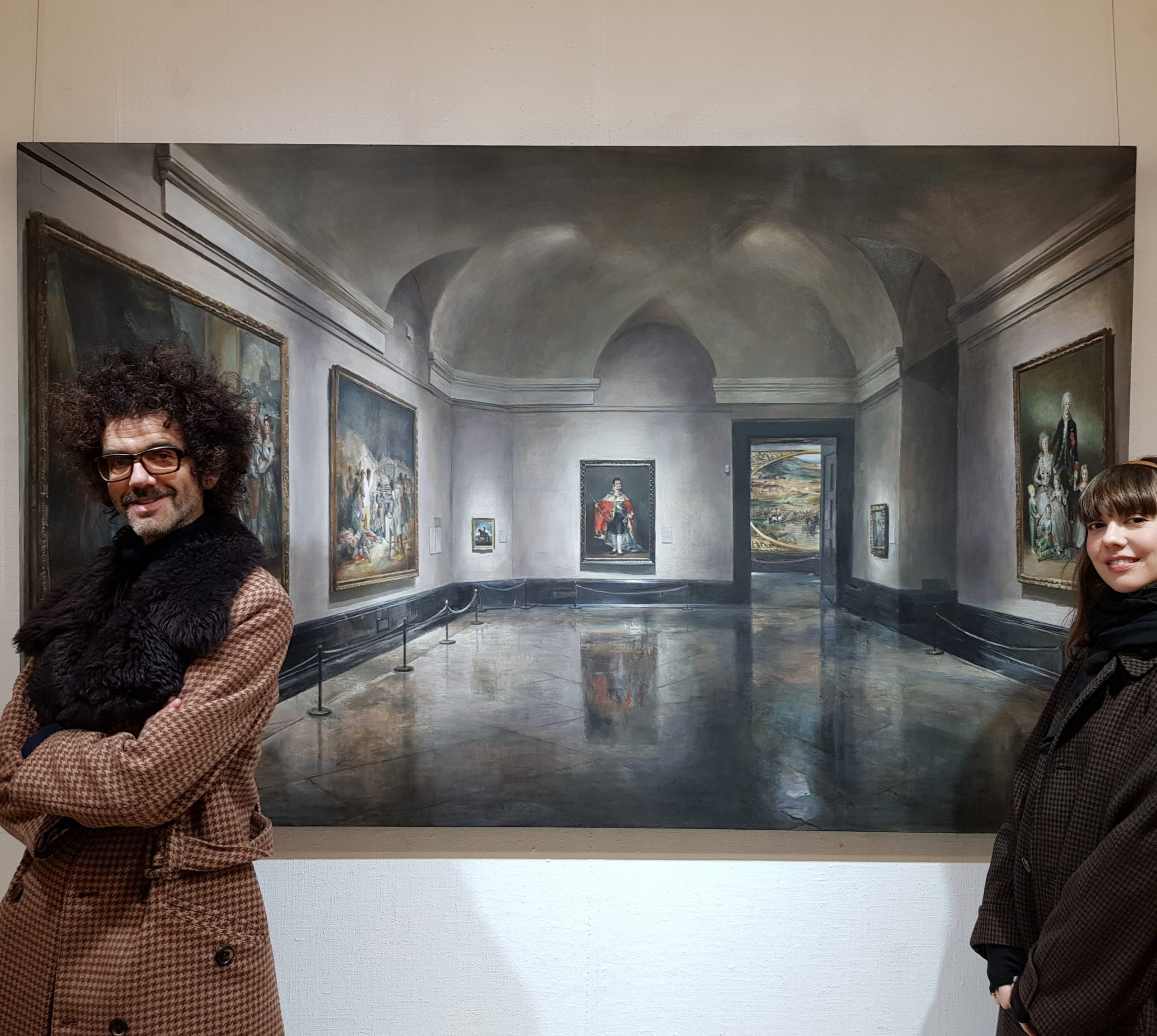 Frankie Poullain and Diane Birch view Goya in the Prado painting by Christian Furr at Richmond Atelier, Richmond upon Thames 2020